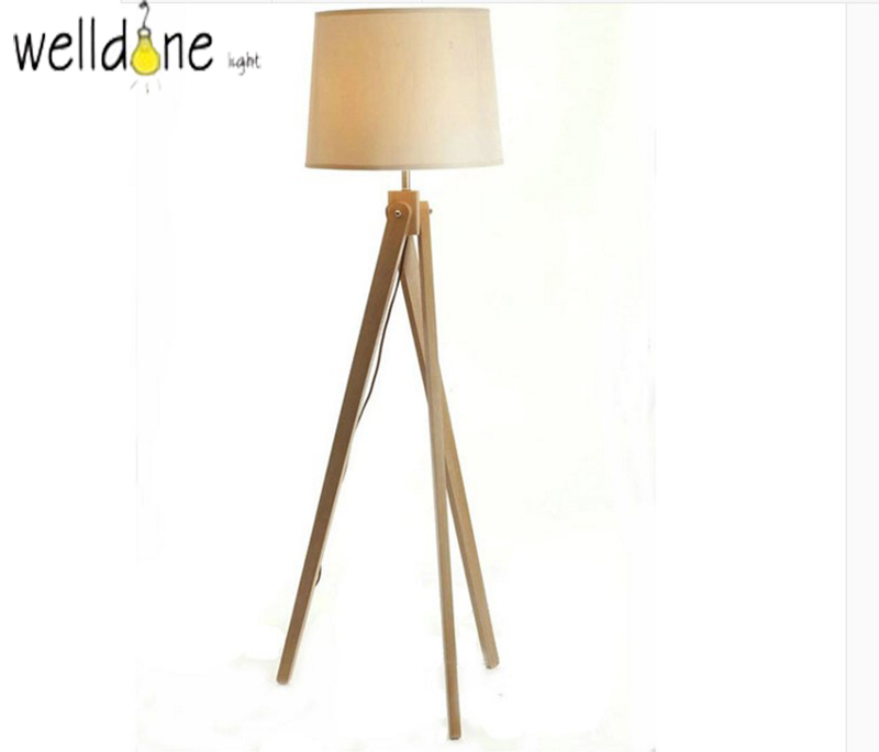American Country Wooden Wood Fabric Led E27 Floor Lamp for Living Room Bedroom Restaurant 3 Leg Wood Floor Lamp Japanese