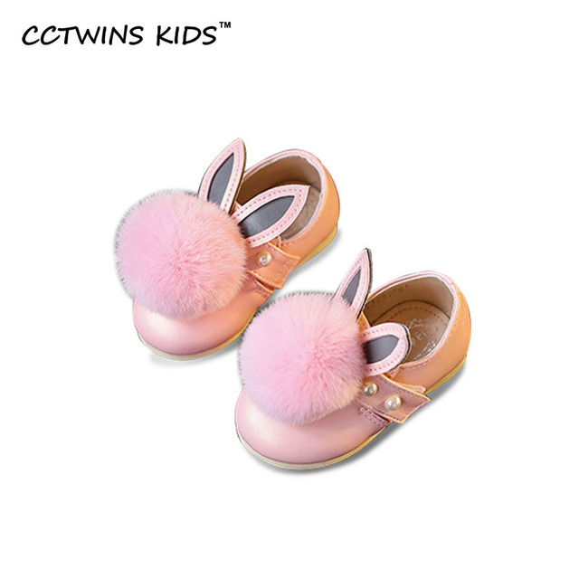 CCTWINS KIDS 2017 Spring Autumn Bunny Girl Brand Baby Pu Leather Shoe Kid Princess Children Beads Flat Infant Fashion Pink Flat