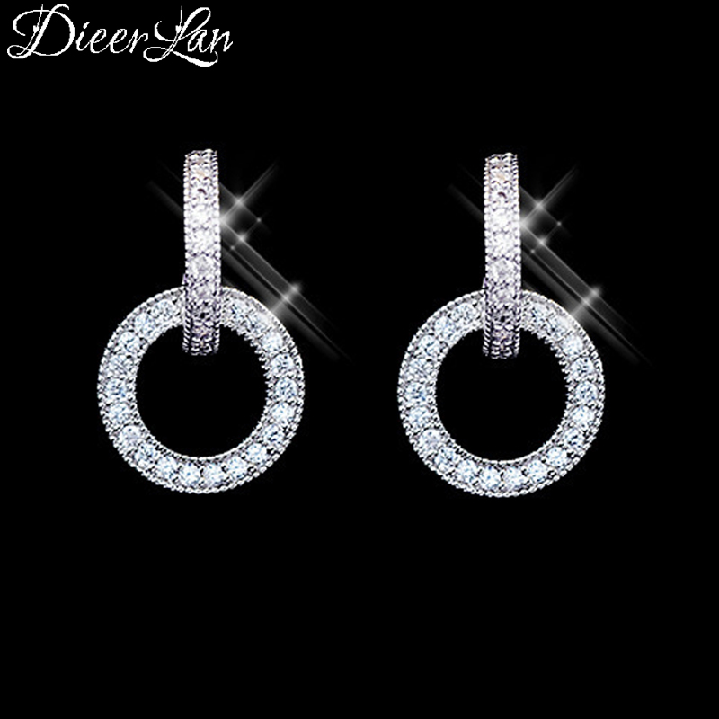 DIEERLAN New Design 925 Sterling Silver Full Zircon Circle Earrings For Women Wedding Jewelry Fashion S925 Pendientes Brincos
