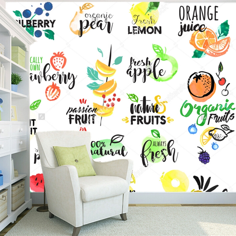 Fruit wallpaper,Fruit Label,3D modern mural for kitchen restaurant coffee shop shop background wall silk papel de parede jacquard green label silk colors cyan [pack of 3 ]