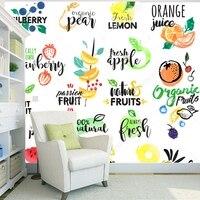 Papel pintado de la fruta, fruta, etiqueta 3D mural moderno para la cocina restaurante cafetería tienda Fondo pared seda papel de parede