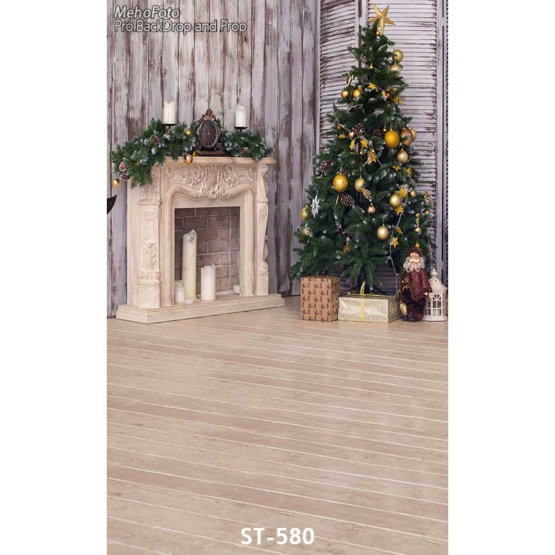 Christmas background vinyl photography backdrops Computer Printed christmas tree and Gift box for Photo studio ST-580 white 3d decorations xmas tree hall fireplace room backdrops vinyl cloth computer printed christmas photo studio background