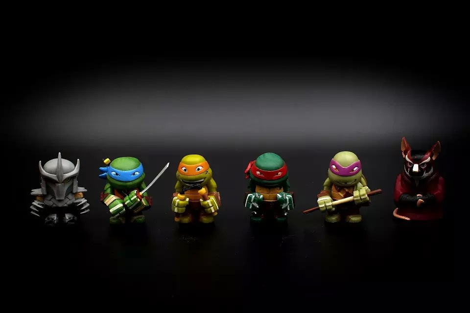 4cm Cute Teenage Mutant Ninja Turtles Action Figure Mini TMNT 6in1 Leo Don Mikey Raph Shredder Model