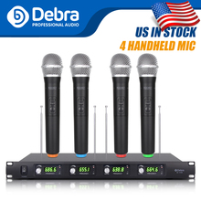 Top quality!!!Debra Audio D-140 4 Channel 4 Handheld cordless Mic UHF Wireless Microphone System For Church speech Karaoke party xtuga ew240 4 channel wireless microphones system uhf karaoke system cordless 4 handheld mic for stage church use for party