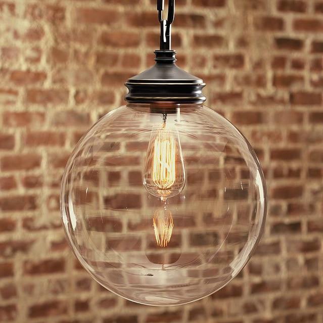 Nordic brief american transparent glass ball pendant light balcony single pendant light GY60