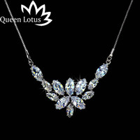 Queen Lotus Fashion Women Zirconia Jewelry Beautiful Sparkling White Big Ice Flower CZ Crystal Pendant Necklace