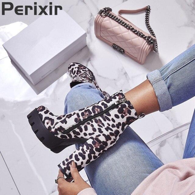 Perixir/модные женские ботинки с леопардовым принтом, замшевые женские ботильоны на не сужающемся книзу массивном каблуке, женские полусапожки в европейском стиле, bottes femme