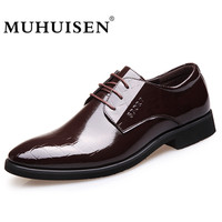 MUHUISEN Hot Sale Fashion Men Business Shoes Spring Autumn Men S Flats Lace Up Male Oxfords