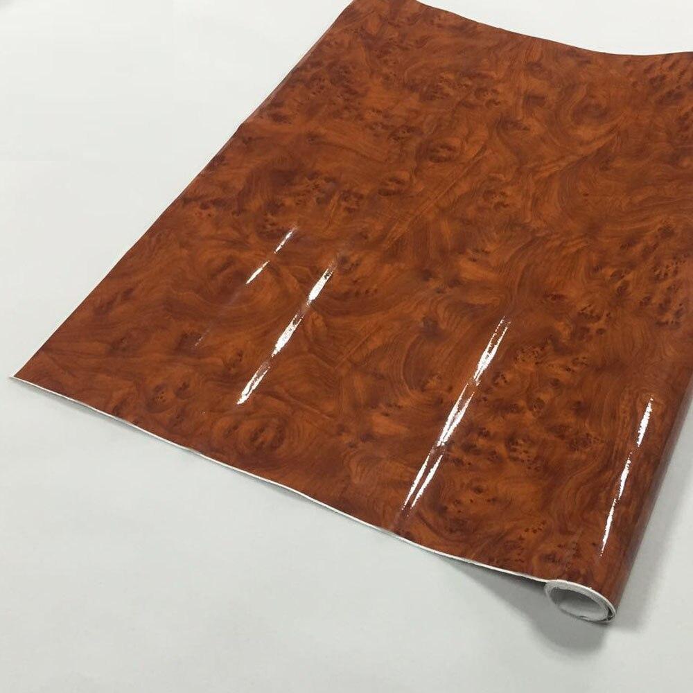 1.24x0.3m Glossy Car Styling Wrap Wrapping Internal Decoration Wood Grain Vinyl Film Sticker Glossy wood PVC FILM(China)