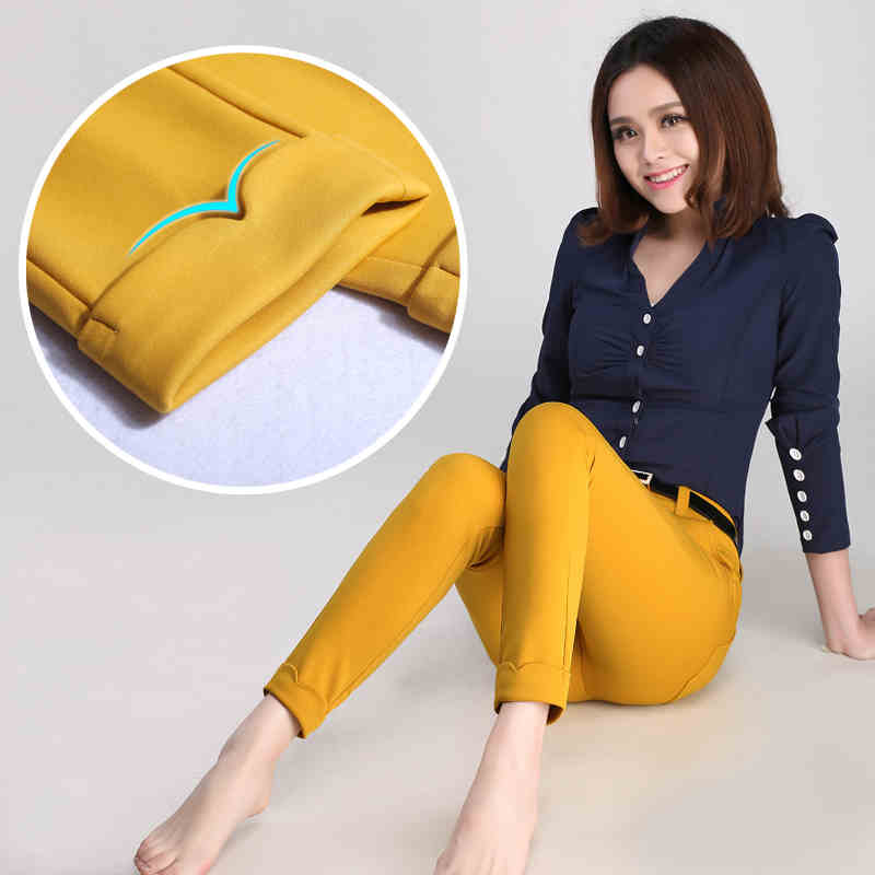 Formal Office Work Pants For Women 2018 Business Suit Trousers Femme Black White Blue Pantalon Pencil Legging Yellow In Capris From