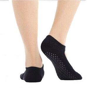 Image 5 - Hot Sale New 1pair Wear resisting Backless Antibacterial Ankle Yoga Socks Cotton Anti slip Ballet Pilates Dacing Barre Sock