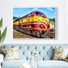 Diamond Painting New Round Stones Scenery Embroidery Nature Train Pictures Of Rhinestones Hobby And Handicraft