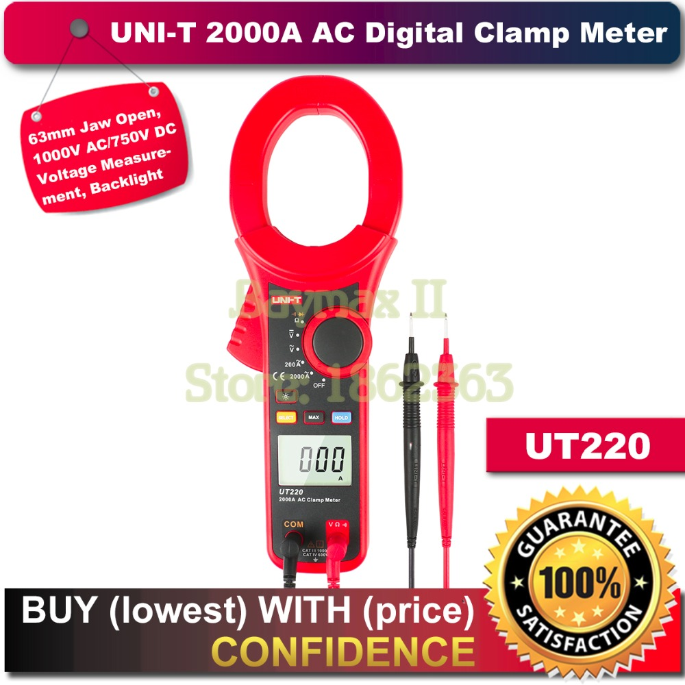 UNI-T UT220 63mm Jaw Open 2000A AC Current Digital Clamp Meter 1000V AC/750V DC Voltage Multimeter with Soft Carry Bag цена