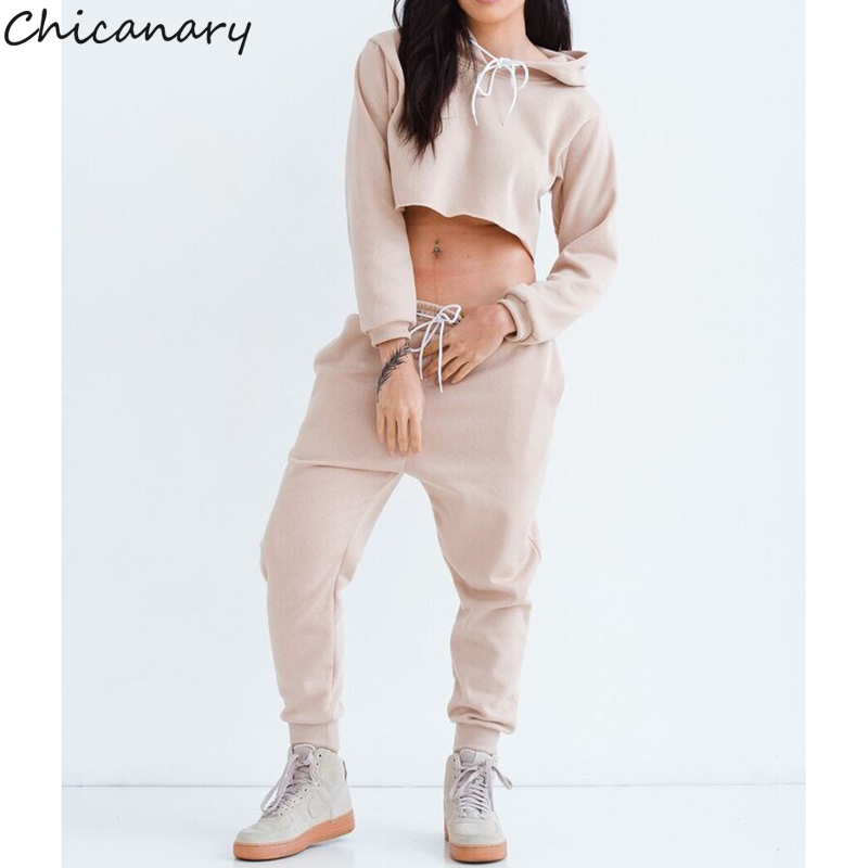 8bfe39ddbd6 Chicanary Autumn Women Sexy 2 Two Piece Set Tracksuit Women Casual Hooded Cropped  Top Leggings Pants Sweatshirt Hoodies Suit-in Women's Sets from Women's ...