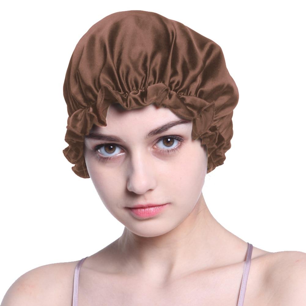 Women Hair Care Sleep Hats Night Cap Cover Wrap Silk Bonnet Salon Elastic Ribbon