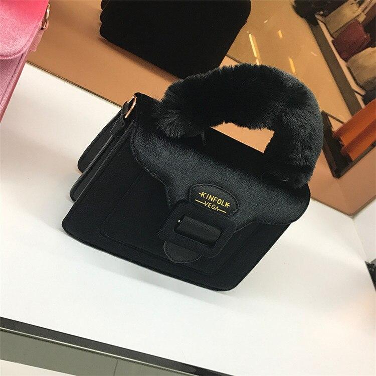 17 Christmas limited velvet suede handbag Samantha Vega plush handle organ shoulder bag Retro small flap square Messenger bag 23