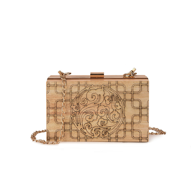 Брендовые дизайнерские женские деревянный сумка Вечеринка деревянной коробке клатч дамы футляр день клатчи сумки Сумка