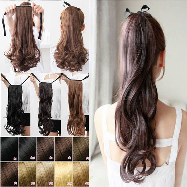 Online Shop Snoilite 18inch Synthetic Wavy Ponytail Extension Dark