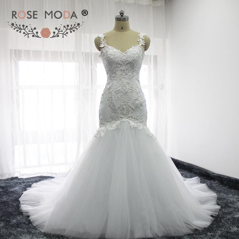 Rose Moda Backless Mermaid Wedding Dress Boho Lace Wedding Dresses 2018 Real Photos