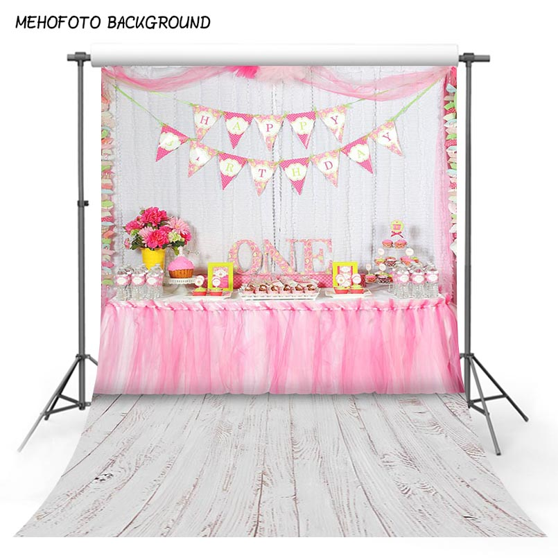 Vinyl Photography Background Pink Table Cake Happy Birthday Party Newborn Children Backdrops for Photo Studio S-3045 photography children s background birthday cake gift present greeting photocall customize cute studio photo prop
