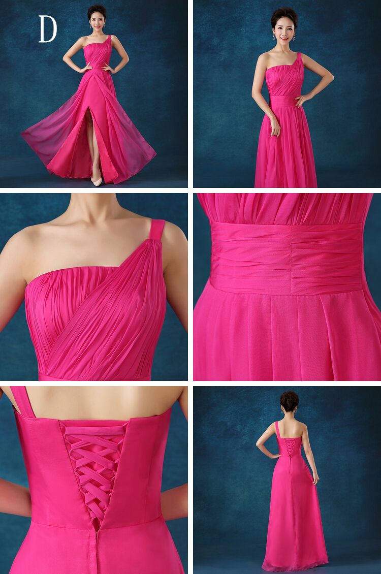 Fuschia novia de dama vestidos de fiesta alto fucsia un hombro ...