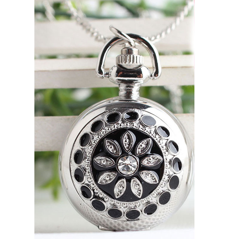 Vintage Silver Crystal Flower Quartz Pocket Watch Luxury Necklace Pendant Women Girl Clock With Chain High Quality Birthday Gift otoky montre pocket watch women vintage retro quartz watch men fashion chain necklace pendant fob watches reloj 20 gift 1pc