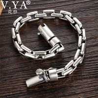 V.YA 6/8mm Men's Bracelet 925 Sterling Silver Bracelets Male Men Toggle clasps Silver Jewelry Birthday Wedding Gift