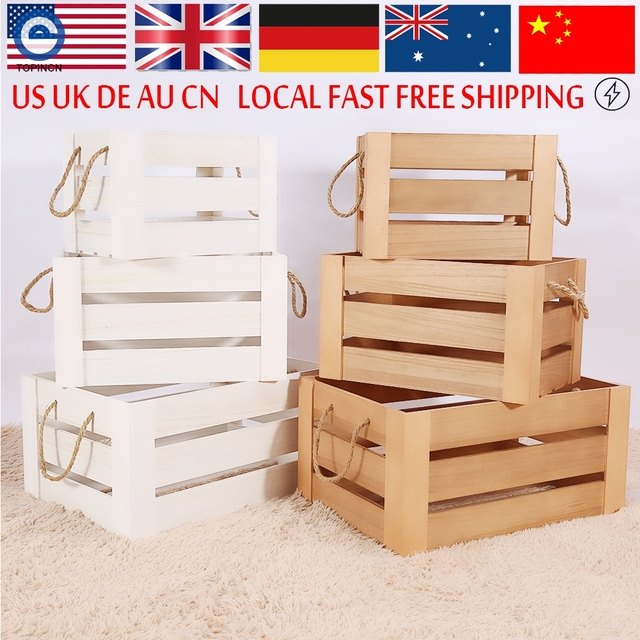 Charmant Rustic Vintage Crate Shabby Chic Wooden White Rope Slatted Storage Boxes  For Fruits Display Box