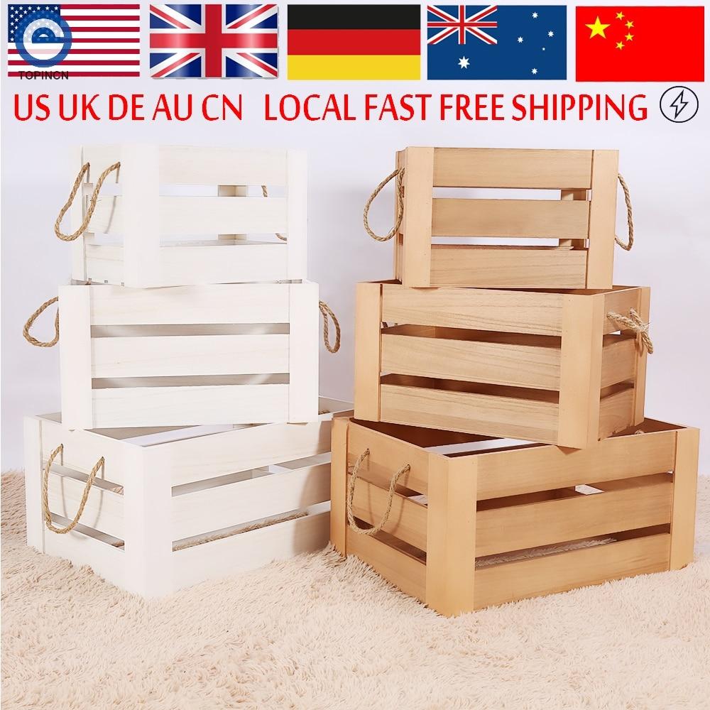 rstica caja de cosecha shabby chic listones de madera cuerda blanca cajas de de frutas