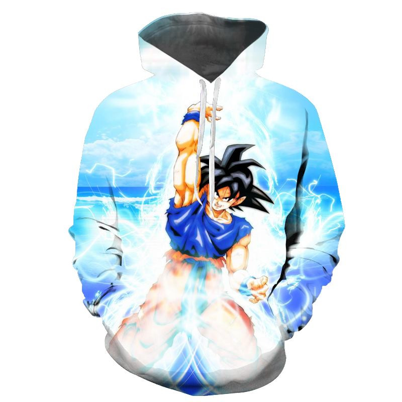 New Anime 3D Hooded Pullover Sweatshirt Mens Dragon Ball Z Super Saiyan Pattern Mens Hoodie Sweatshirt Hip Hop Casual Pullover