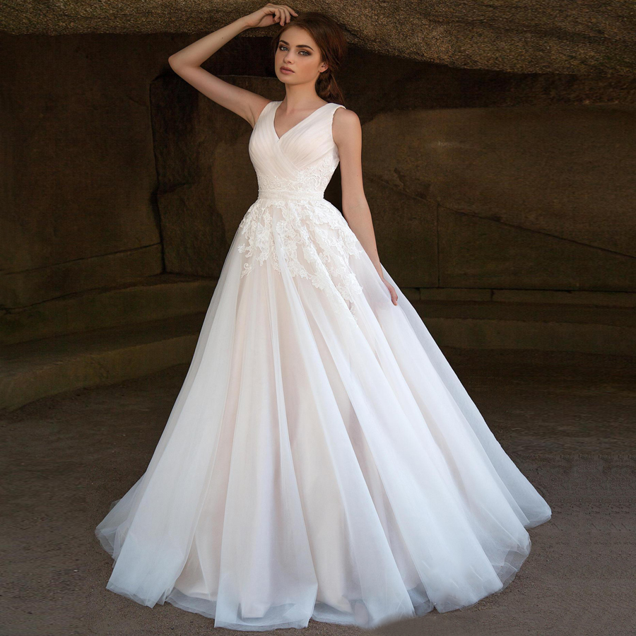 Romantic Wedding Dress V-neck Sleeveless Pleats Applique A-line Wedding Gowns For Bride Vestido De Noiva New Arrival