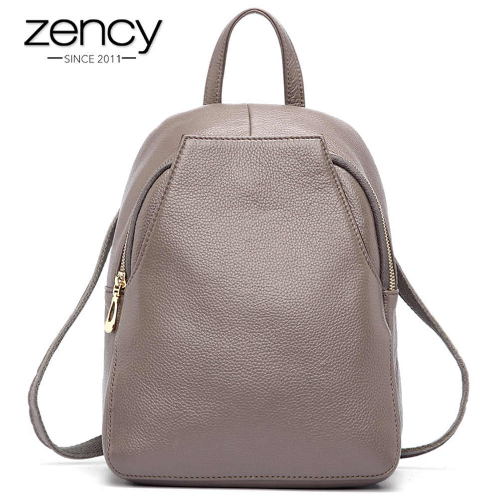 57e5933cab Zency New Arrival Women Backpack 100% Genuine Leather Ladies Travel Bags  Preppy Style Schoolbags For