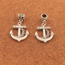 homod new fashion anchor beads leather bracelets 50pcs Antique Silver Nautical Anchor Hope Charm Beads Dangle Fit European Bracelets B023 20.5x36mm
