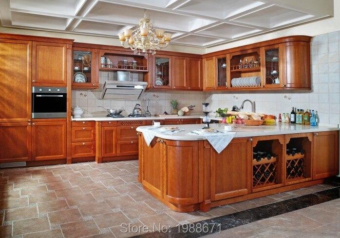 Guangdong Wooden Kitchen Furniture Teak Wood Cabinet