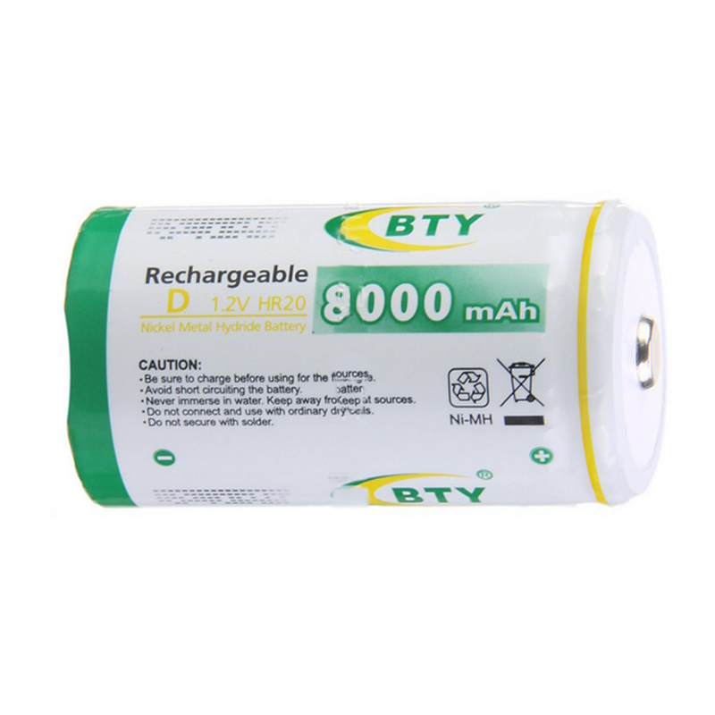 High Quality 4Pcs BTY Rechargeable D 1.2V HR20 Nickel Metal Hydride Battery 8000mAh NI-MH Batteries For Power Tools Electric Toy