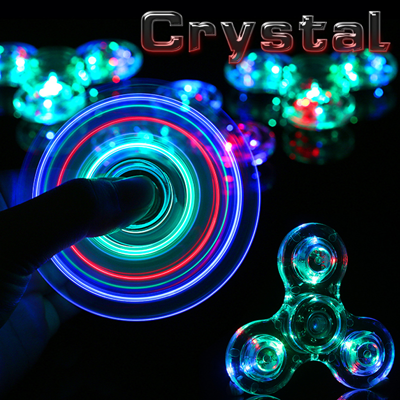 New Crystal LED Fidget Spinner Hand Clear Flash Light EDC Finger Spiner Tri Spinners Toys For Autism ADHD Focus Anti Stress Gift fidget hand spinner brass metal edc finger spinner anti stress hand spinner for autism adhd toys gift spinning top