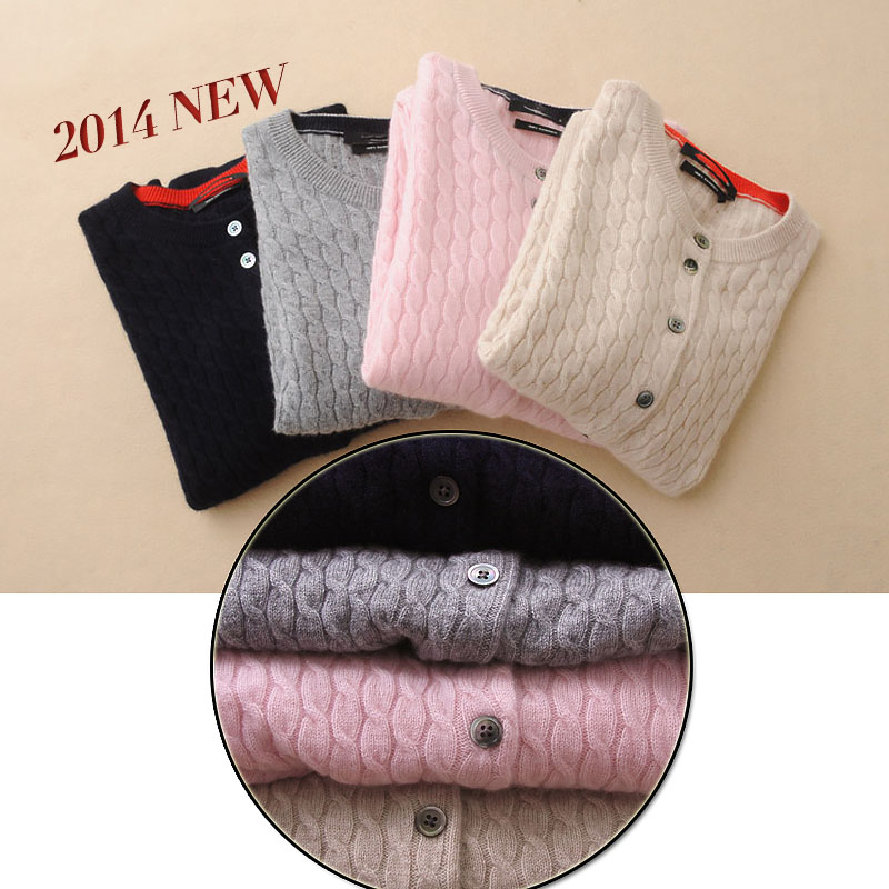 2014 Fall Sweater Womens Thick Cable Cashmere Cardigan female cardigans autumn winter solid yy 14502 wool