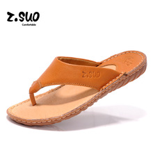Z'Suo Brand 2017 Summer Men Slippers Cow Leather Beach Sandals Shoes Outdoor Solid Genuine Leather Men's Flip Flops Plus Size 44