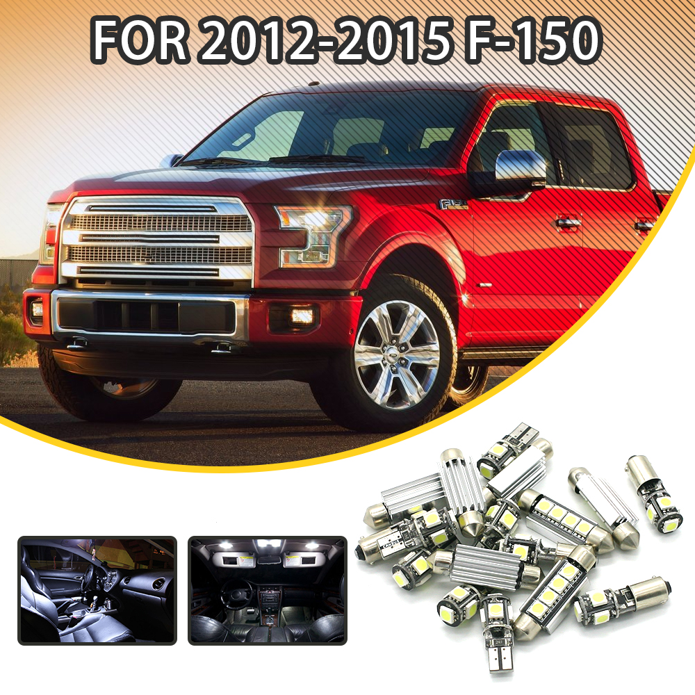 360Lahl 14pcs White Car LED Light Bulbs Interior Package Kit For FORD F-150 2012-2015 Dome lights Map lights