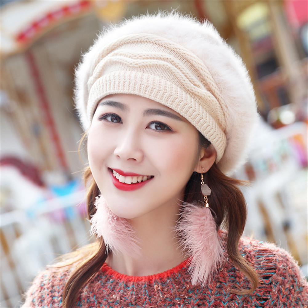 Winter Solid Color Rabbit Hair Thickened Warm Knitted Hat For Women Warm   Beanies   Fleece Inside Knitted Hats Fashionable Beret