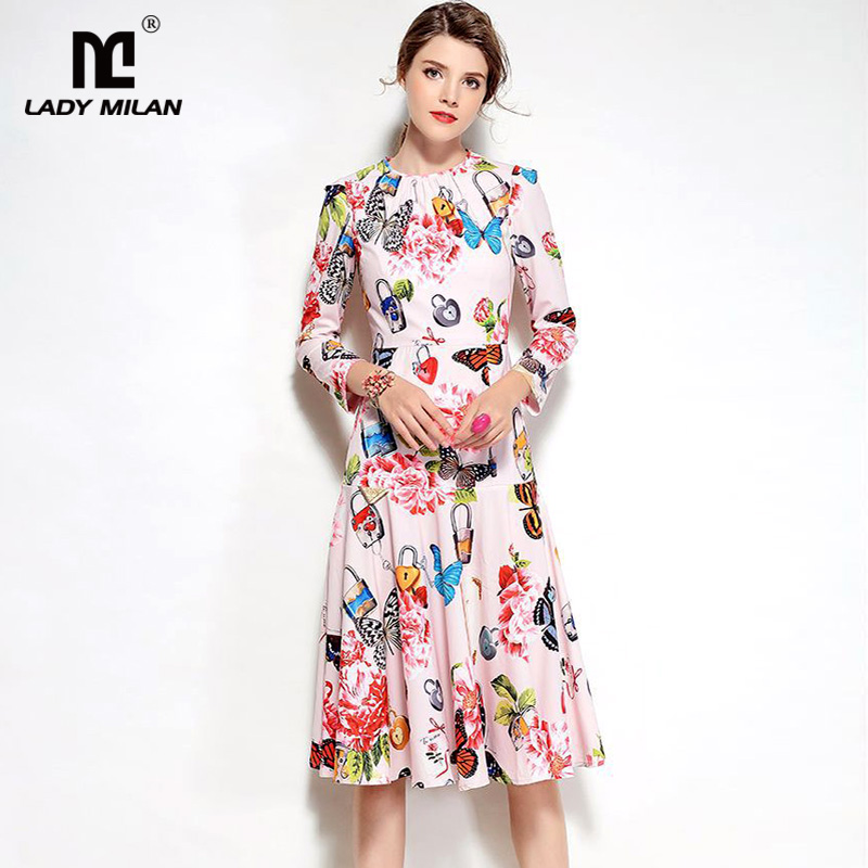 New Arrival 2018 Spring Womens O Neck Long Sleeves Ruffles Floral Printed Casual Fashion Dresses
