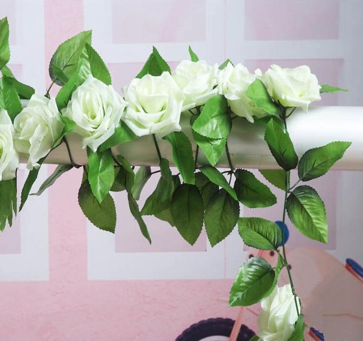 녹색 색조 센터와 2pcs / 가방 아이 보 리 8.2 피트 인공 실크 장미 꽃 아이비 포도 나무 잎 화환 결혼식 파티 장식