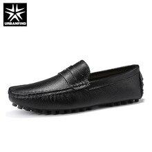URBANFIND גודל 50 גברים נעליים יומיומיות אופנה גברים נעלי עור אמיתי גברים נעלי מוקסינים להחליק על גברים של דירות