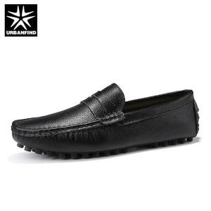 Image 1 - URBANFIND Size 50 Men Casual Shoes Fashion Men Shoes Genuine Leather Men Loafers Moccasins Slip On Mens Flats