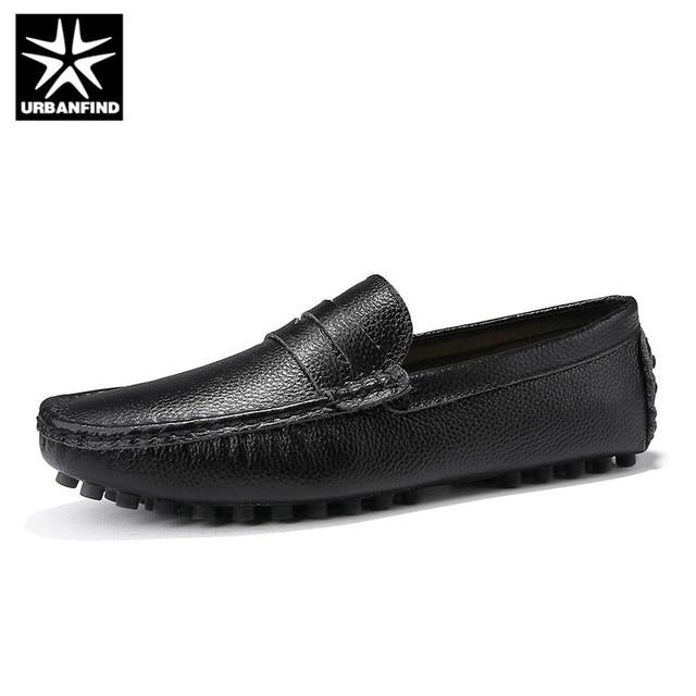 URBANFIND Size 50 Men Casual Shoes Fashion Men Shoes Genuine Leather Men Loafers Moccasins Slip On Mens Flats