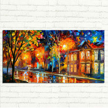 Hand Painted Abstract city landscape Oil Painting On Canvas Modern Texture Palette Knife Art  Home Decor Wall Picture