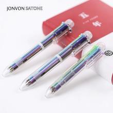 ¡Venta al por mayor! Jonvon Satone 50 Uds. Bolígrafo de aceite de Color prensado 6 en 1 lápiz de papelería creativa, bolígrafos multicolor encantadores para regalo de escritura