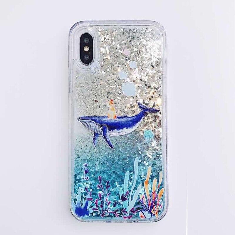 Cartoon Whale Coral Dynamic Liquid Quicksand Glitter Case For Xiaomi Mi 8 A2 6X A1 5X Mix 2S Redmi 5 plus Note 5 pro Cover Coque (7)