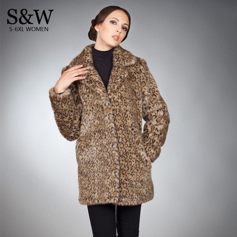Модная леопардовая шуба Для женщин зимние длинные пальто из искусственного меха искусственный Лисий Меховая куртка плюс Размеры 5XL пальто