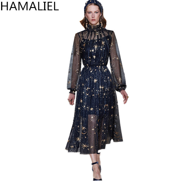 7a1aec26e8fd2 HAMALIEL 2018 Designer Runway Dress Spring Women Blue Mesh Embroidery Moon  Long Lantern Sleeve Lady Casual Luxury Party Dress-in Dresses from Women's  ...